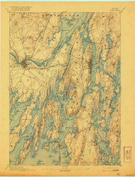 Bath, Maine 1894 (1921) USGS Old Topo Map 15x15 Quad