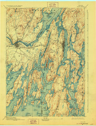 Bath, Maine 1894 (1928) USGS Old Topo Map 15x15 Quad