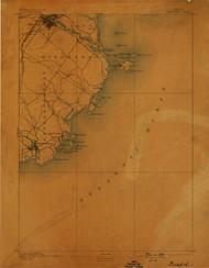 Biddeford, Maine 1893 (1898) USGS Old Topo Map 15x15 Quad