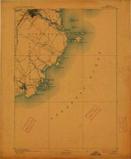 Biddeford, Maine 1893 (1912) USGS Old Topo Map 15x15 Quad