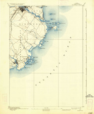 Biddeford, Maine 1893 (1936) USGS Old Topo Map 15x15 Quad