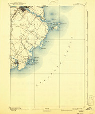 Biddeford, Maine 1893 (1942) USGS Old Topo Map 15x15 Quad