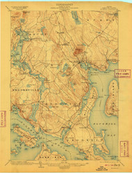 Bluehill, Maine 1904 (1909) USGS Old Topo Map 15x15 Quad