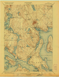 Bluehill, Maine 1904 (1921) USGS Old Topo Map 15x15 Quad