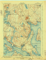 Bluehill, Maine 1904 (1931) USGS Old Topo Map 15x15 Quad