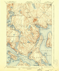 Bluehill, Maine 1904 (1942) USGS Old Topo Map 15x15 Quad