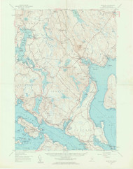 Bluehill, Maine 1957 (1963 a) USGS Old Topo Map 15x15 Quad