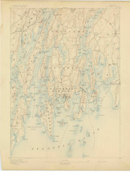Boothbay, Maine 1893 (1893) USGS Old Topo Map 15x15 Quad