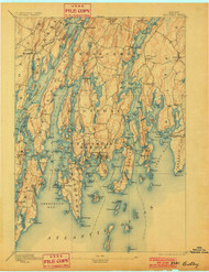Boothbay, Maine 1893 (1901) USGS Old Topo Map 15x15 Quad