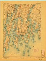 Boothbay, Maine 1893 (1906) USGS Old Topo Map 15x15 Quad