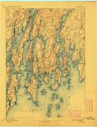 Boothbay, Maine 1893 (1908) USGS Old Topo Map 15x15 Quad