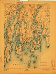 Boothbay, Maine 1893 (1909) USGS Old Topo Map 15x15 Quad