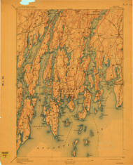 Boothbay, Maine 1893 (1911) USGS Old Topo Map 15x15 Quad