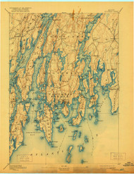 Boothbay, Maine 1893 (1921) USGS Old Topo Map 15x15 Quad