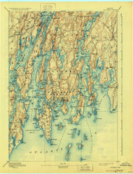 Boothbay, Maine 1893 (1930) USGS Old Topo Map 15x15 Quad