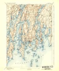Boothbay, Maine 1893 (1936) USGS Old Topo Map 15x15 Quad