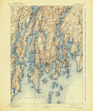 Boothbay, Maine 1893 (1941) USGS Old Topo Map 15x15 Quad