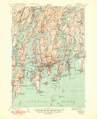 Boothbay, Maine 1943 (1949) USGS Old Topo Map 15x15 Quad