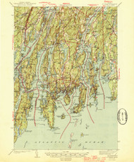Boothbay, Maine 1944 (1944 a) USGS Old Topo Map 15x15 Quad