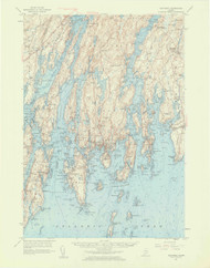 Boothbay, Maine 1957 (1959 a) USGS Old Topo Map 15x15 Quad