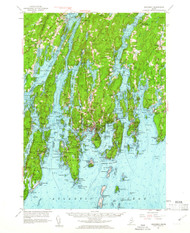 Boothbay, Maine 1957 (1961) USGS Old Topo Map 15x15 Quad