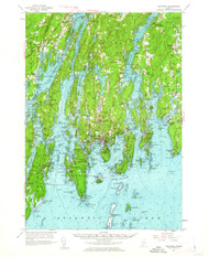Boothbay, Maine 1957 (1962) USGS Old Topo Map 15x15 Quad