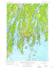 Boothbay, Maine 1957 (1964) USGS Old Topo Map 15x15 Quad
