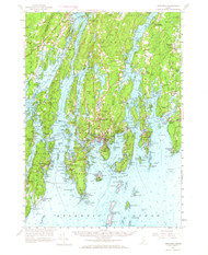 Boothbay, Maine 1957 (1965) USGS Old Topo Map 15x15 Quad
