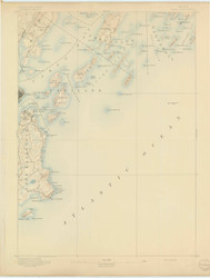 Casco Bay, Maine 1893 (1893) USGS Old Topo Map 15x15 Quad