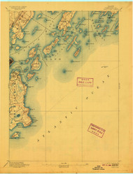 Casco Bay, Maine 1893 (1909) USGS Old Topo Map 15x15 Quad