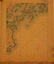 Casco Bay, Maine 1893 (1913) USGS Old Topo Map 15x15 Quad