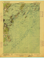 Casco Bay, Maine 1916 (1916 a) USGS Old Topo Map 15x15 Quad