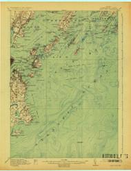 Casco Bay, Maine 1916 (1925 b) USGS Old Topo Map 15x15 Quad