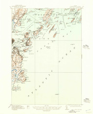 Casco Bay, Maine 1916 (1957) USGS Old Topo Map 15x15 Quad