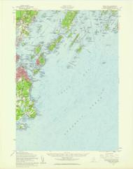 Casco Bay, Maine 1957 (1960 a) USGS Old Topo Map 15x15 Quad