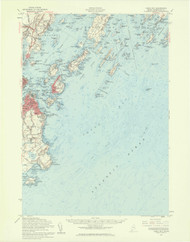 Casco Bay, Maine 1957 (1960 b) USGS Old Topo Map 15x15 Quad