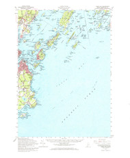 Casco Bay, Maine 1957 (1966) USGS Old Topo Map 15x15 Quad