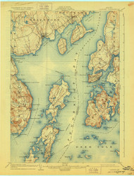 Castine, Maine 1904 (1928) USGS Old Topo Map 15x15 Quad