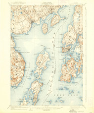 Castine, Maine 1904 (1938) USGS Old Topo Map 15x15 Quad