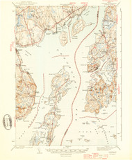 Castine, Maine 1943 (1943 a) USGS Old Topo Map 15x15 Quad