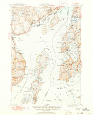Castine, Maine 1943 (1950) USGS Old Topo Map 15x15 Quad