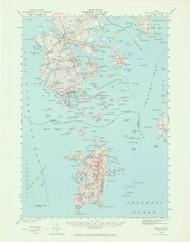 DeerIsle, Maine 1942 (1965) USGS Old Topo Map 15x15 Quad