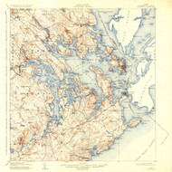 Eastport, Maine 1908 (1935) USGS Old Topo Map 15x15 Quad
