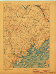 Freeport, Maine 1892 (1906) USGS Old Topo Map 15x15 Quad