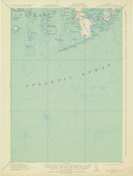 Great Wass Island, Maine 1921 (1932) USGS Old Topo Map 15x15 Quad