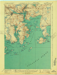 Machias, Maine 1918 (1932) USGS Old Topo Map 15x15 Quad