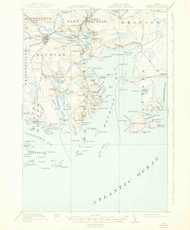 Machias, Maine 1918 (1943) USGS Old Topo Map 15x15 Quad
