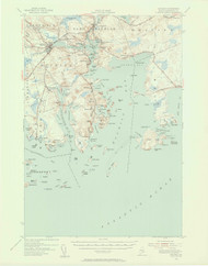 Machias, Maine 1941 (1956 a) USGS Old Topo Map 15x15 Quad