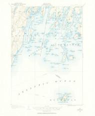 Monhegan, Maine 1904 (1958) USGS Old Topo Map 15x15 Quad