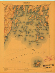 Monhegan, Maine 1906 (1912) USGS Old Topo Map 15x15 Quad